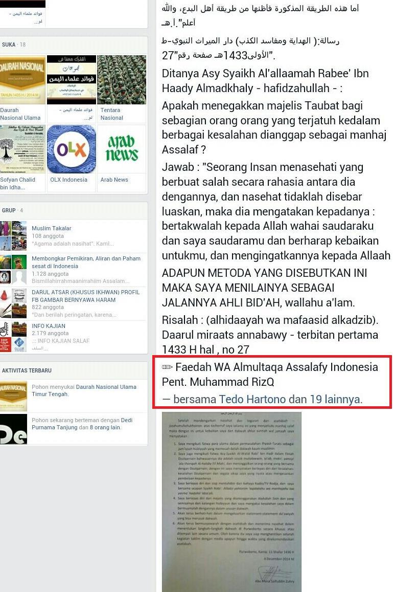 6-Kawan Tedo Hartono cs juga sebar syubhat dari rujukan grup Multaqa Indonesia Pekanbaru